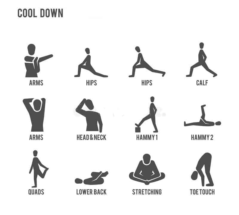 Illustrated cool down stretches