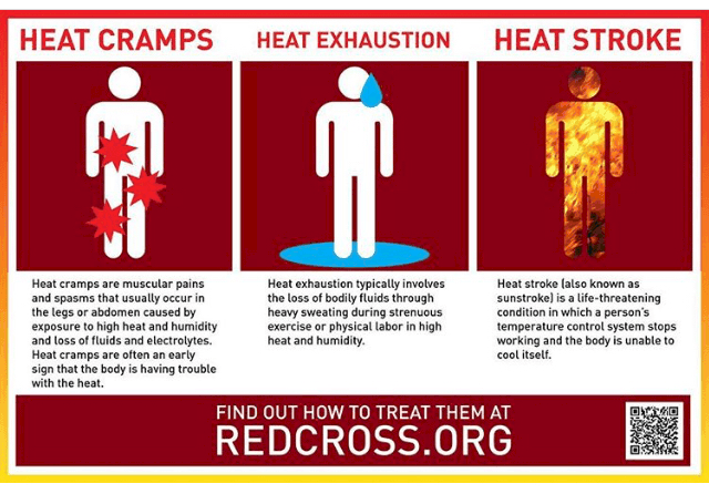 Red Cross heat sickness infographic