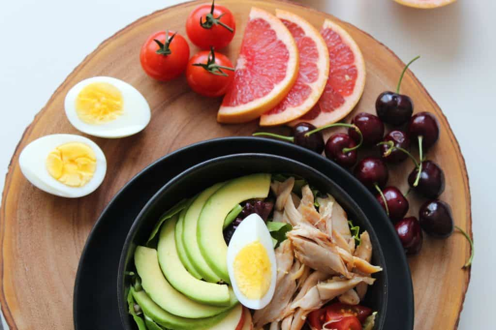 Avocado, eggs, and grapefruit
