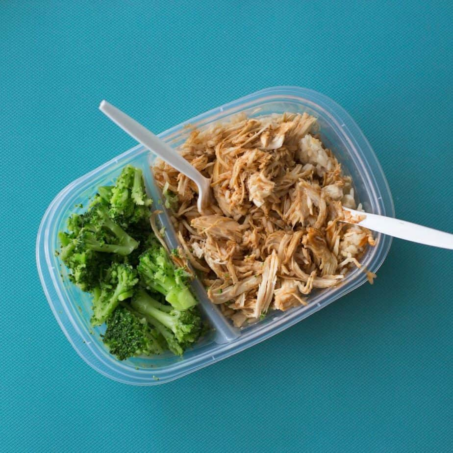 Prepared food in a tupperware container