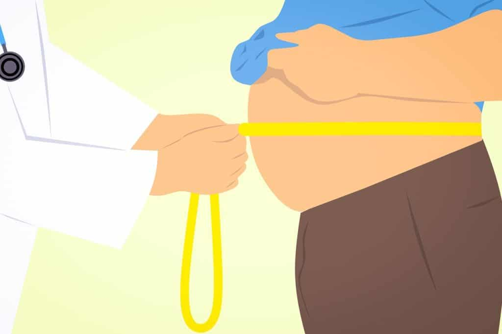 Illustrated doctor with tape measure around a mans belly